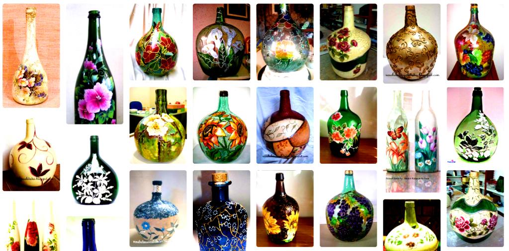 como decorar garrafones de vidrio